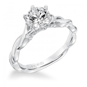 """""""Tala"""" Diamond SolitaireTwisted Shank with Surprise Stones Engagement Ring"""
