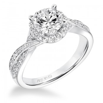 """Eliana"" Contemporary Diamond Twisted Halo Engagement Ring"
