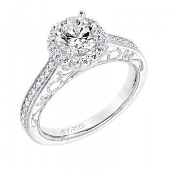 Indra' Vintage Diamond Halo Engagement Ring - 31-V721ERW-E.00