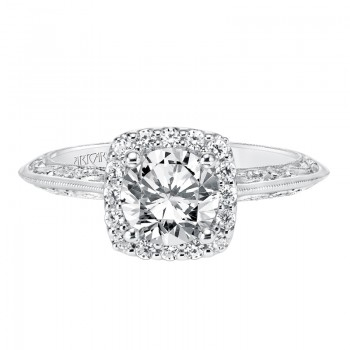 """Audriana"" Vintage Diamond Halo Engagement Ring"