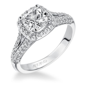 Artcarved Split Shank Halo Diamond Engagement Ring