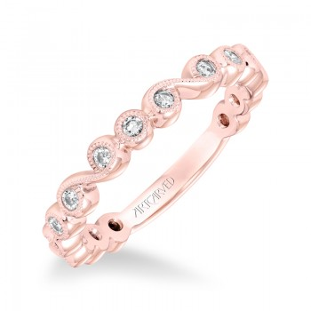 ArtCarved Stackable Band with Bezel set Diamonds and Milgrain in 14K Rose Gold - 33-V9161R