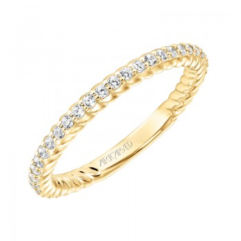 ArtCarved Contemporary Diamond and Rope Band in 14K Yellow Gold  - 33-V9188Y