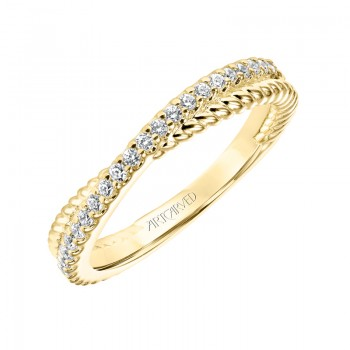 ArtCarved Contemporary Twisted Diamond and Rope Band in Yellow Gold  - 33-V9189Y