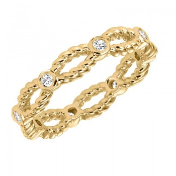 Artcarved 14k Yellow Gold Rope Detail Diamond Band