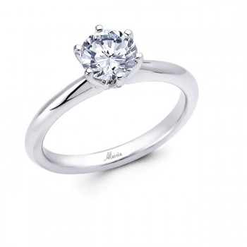 18 KARAT WHITE GOLD SOLITAIRE WEDDING RING