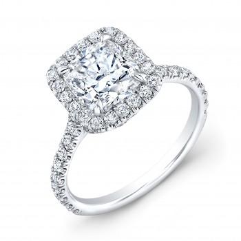 Custom Made 18K White Gold Halo Engagement Ring