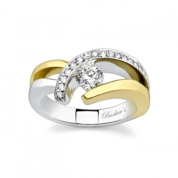 Two Tone Diamond Engagement Ring