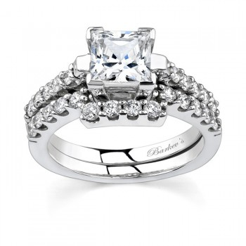 White gold diamond engagement ring set - 7260SW