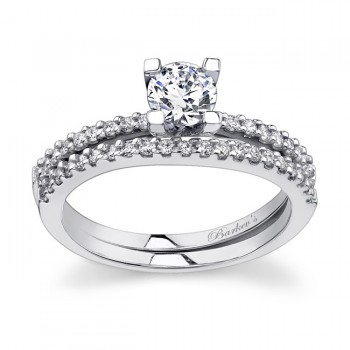 White gold diamond engagement ring set - 7356SW