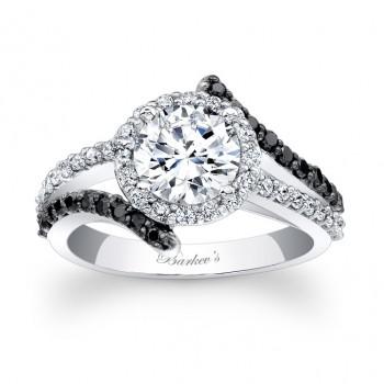 Black Diamond Halo Engagement Ring