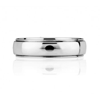 Bright Polished, Step Edged Classic Men's Ring