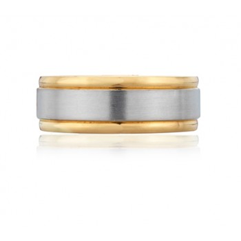 Broad Double Beveled Men's Ring