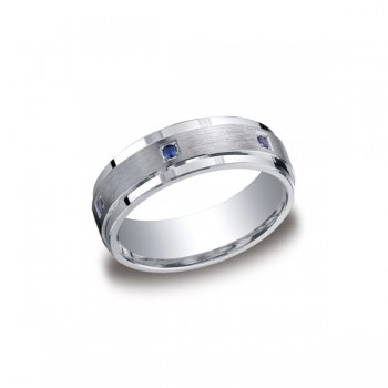 Diamonds Argentium Silver 7mm Sapphire Band