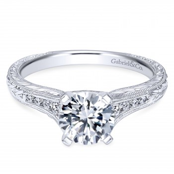 14k White Gold Round-Cut Victorian Engagment Ring