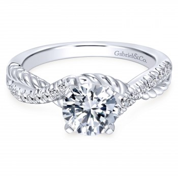 14K White Gold Riata Engagement Ring With Criss Cross Shank