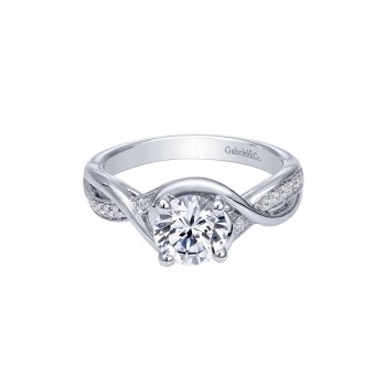14k White Gold Contemporary Engagement Ring With Criss Cross Shank