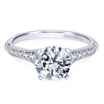14k White Gold Timeless Contemporary Engagement Ring