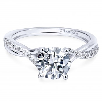 14K White Gold Contemporary Brilliant Diamond Engagement Ring