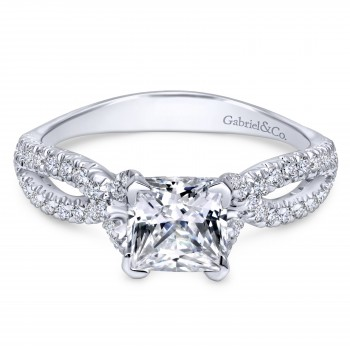 14K White Gold Princess Cut Contemporary Engagement Ring