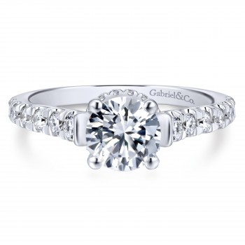 14k White Gold Classic Crown Engagement Ring