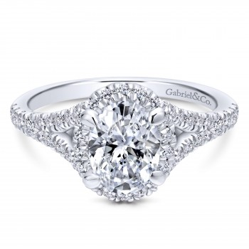 14k White Gold Entwined Engagement Ring