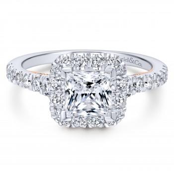 14k White/Pink Gold Blush Engagement Ring