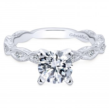 14k White Gold Mesmerizing Victorian Ribbon Engagement Ring
