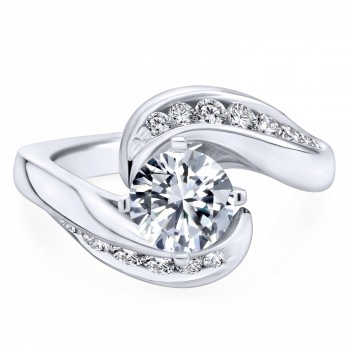 14k White Gold Tapered Contemporary Engagement Ring