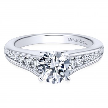 14k White Gold Contemporary Round Cut Diamond Engagement Ring