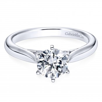 14k White Gold Round Solitaire Diamond Engagement Ring