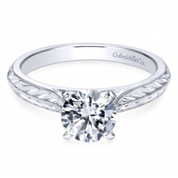 14k White Gold Straight Styled Victorian Engagement Ring
