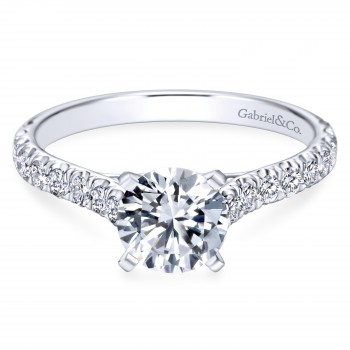 14k White Gold Graceful Contemporary Engagement Ring