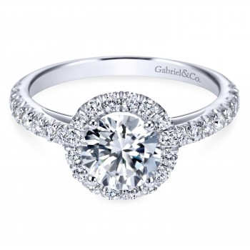 Contemporary 14K White Gold Halo Engagement Ring