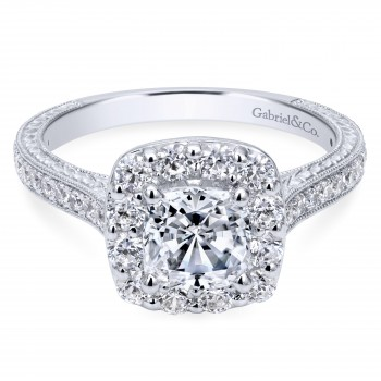 14K White Gold Cushion Cut Victorian Engagement Ring