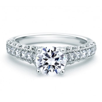 PAVÉ SET WITH MILGRAIN ENGAGEMENT RING