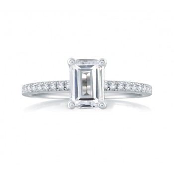 CLASSIC EMERALD CUT CENTER MICRO PAVÉ ENGAGEMENT RING