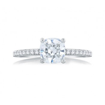 CLASSIC CUSHION CUT CENTER MICRO PAVÉ ENGAGEMENT RING