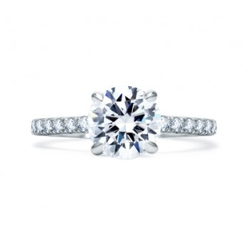 DELICATE ROUND DIAMOND CENTER QUILTED ENGAGEMENT RING