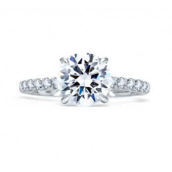 QUILTED FRENCH PAVÉ ROUND DIAMOND CENTER ENGAGEMENT RING