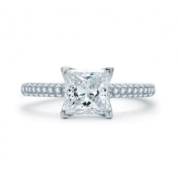 DELICATE PAVÉ PRINCESS CUT QUILTED ENGAGEMENT RING