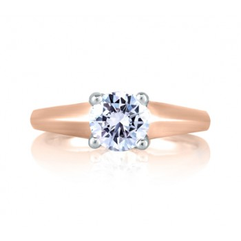 SOLITAIRE DIAMOND CROSS OVER RING