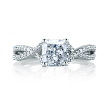 Criss Crossover Cushion Cut Engagement Ring