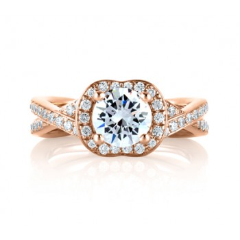 "Rose Gold Crossover Diamond with Natural Pink Diamonds Embedded in Signature ""A"" Engagement Ring"