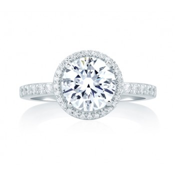 Deco Tower Halo Engagement Ring with Round Diamond Center
