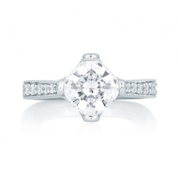 Deco Diamond Prong Milgrain Engagement Ring