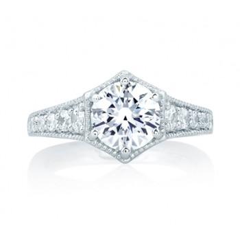 Deco Pentilinear Pavé Engagement Ring