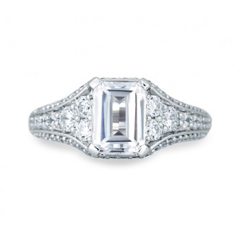 Vintage Emerald Diamond Center Solitaire Engagement Ring
