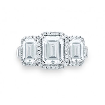 Classic Three Stone Emerald Cut Halo Engagement Ring