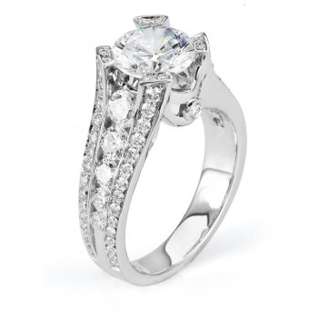 18 KARAT WHITE GOLD WEDDING RING with diamonds - R478-2 - Michael M